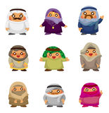 Cartoon Arabian people icons Stock Photo
