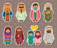 Cartoon Arabian people stickers royalty free stock photo