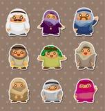 Cartoon Arabian people stickers Royalty Free Stock Photos