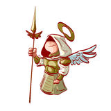 Cartoon Archangel holding a spear Stock Photo