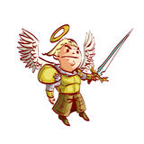 Cartoon Archangel with sword and armor vector illustration