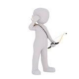 Cartoon Archer with Bow and Arrows. 3d Rendering of Cartoon Figure Standing in front of White Background with Bow and Arrows Royalty Free Stock Photo