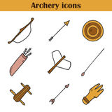 Cartoon archery icons Stock Images