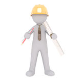 Cartoon Architect with Hard Hat, Ruler and Pencil. 3d Rendering of Cartoon Figure Wearing Yellow Hard Hat and Holding Ruler and Drawing Materials While Standing Stock Images