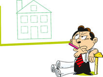Cartoon architect. The illustration shows a man architect who considers the project house on paper Royalty Free Stock Images