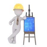 Cartoon Architect Leaning on Blueprints on Easel Royalty Free Stock Image