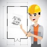 Cartoon architect sketching house. Illustration of cartoon architect sketching house with floor plan background vector illustration