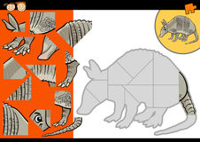 Cartoon armadillo jigsaw puzzle game Royalty Free Stock Images