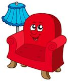 Cartoon armchair with lamp Royalty Free Stock Images