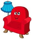 Cartoon armchair with lamp stock illustration