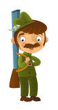 Cartoon armed hunter standing and smiling Stock Photo