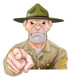 Cartoon army drill sergeant pointing. Cartoon army drill sergeant soldier pointing Stock Photos