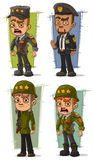 Cartoon army general with weapon character vector set Stock Images