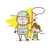 Cartoon Army Man with Cute Happy Little Girl Vector Illustration Royalty Free Stock Photography