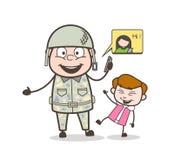 Cartoon Army Man with Kid Making Fun on Call Vector Illustration. Cartoon Army Man with Kid Making Fun on Call Vector design Royalty Free Stock Photography