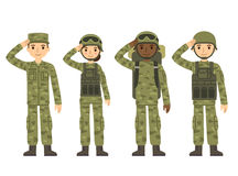 Cartoon army people. US Army soldiers, men and woman, in camouflage combat uniform saluting. Cute flat cartoon style. Isolated vector illustration Royalty Free Stock Images