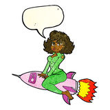 cartoon army pin up girl riding missile with speech bubble Royalty Free Stock Photo