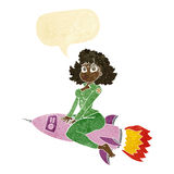cartoon army pin up girl riding missile with speech bubble Stock Image