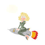 Cartoon army pin up girl riding missile] with thought bubble Stock Images