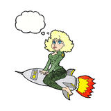 Cartoon army pin up girl riding missile] with thought bubble Stock Photos
