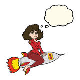 Cartoon army pin up girl riding missile with thought bubble Stock Photography