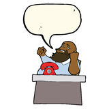 Cartoon arrogant boss man with speech bubble Royalty Free Stock Images