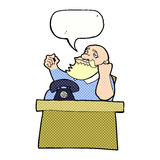 Cartoon arrogant boss man with speech bubble Royalty Free Stock Photography