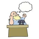 Cartoon arrogant boss man with thought bubble Royalty Free Stock Photos