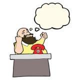 Cartoon arrogant boss man with thought bubble Stock Photos
