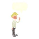 Cartoon arrogant boy with speech bubble Royalty Free Stock Image