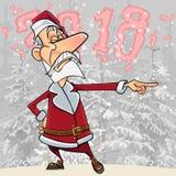 Cartoon arrogant Santa Claus pointing the finger in the woods 2018. Cartoon arrogant Santa Claus pointing the finger in woods 2018 Stock Photography