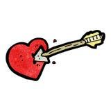Cartoon arrow struck heart. Retro cartoon with texture. Isolated on White Stock Photo