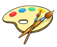 Cartoon art palette and two brushes Royalty Free Stock Photography