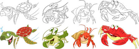 Cartoon arthropod animals set Stock Image