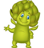 Cartoon artichoke waving hand Royalty Free Stock Photography