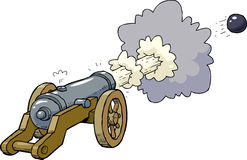 Cartoon artillery cannon. Shot kernel illustration Stock Photo