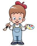 Cartoon artist boy Royalty Free Stock Image