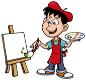 Cartoon artist boy Royalty Free Stock Image