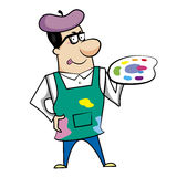 Cartoon Artist with Paint Palette Stock Photos