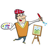 Cartoon Artist with Paintbrush and Canvas Easel Royalty Free Stock Image