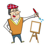 Cartoon artist with paintbrush and canvas easel Stock Photography