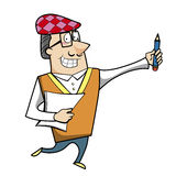 Cartoon Artist with Pencil and Paper. Vector illustration Stock Image