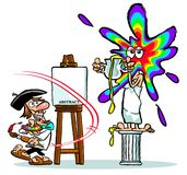 Cartoon artist throwing paints at model. Cartoon artist with easel throwing colorful paints at model standing on pedestal Stock Photo