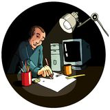 Cartoon of an artist working Royalty Free Stock Photography