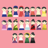 Cartoon ASIA people in key hole. Stock Photos