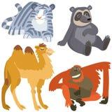 Cartoon asian animals set. Illustration of isolated african animals set on white background Royalty Free Stock Photos