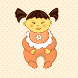 Cartoon asian baby girl on dots background. Royalty Free Stock Photos