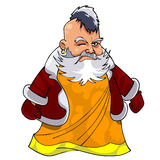 Cartoon asian grandfather in Santa Claus clothes Stock Photo