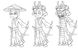 Cartoon asian ninja samurai with sword character vector Stock Images