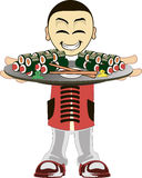 Cartoon asian waiter Stock Photo